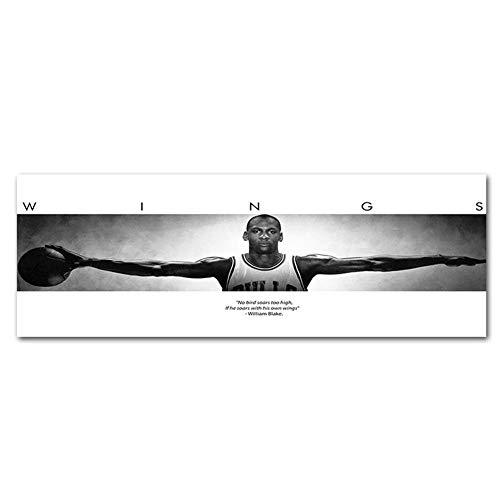 Nilefen Michael Jordan Sport Poster Print Poster Alte Foto große Wandkunst Leinwand Gemälde Büro Dekoration (90 × 33 cm 130 × 45 cm , 170 × 60 cm) (130 × 45 cm) - Dekoration Foto-print