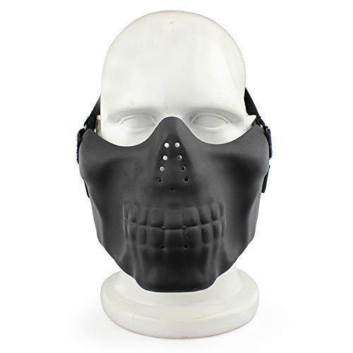 117 Spartan Kostüm - LIBWX Skeleton Half Face Mask Harter Schutz, Paintball Jagd CS Wargame Maskerade Kostüm Party Halloween,Schwarz