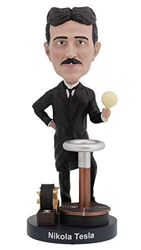Royal Bobbles - Wackelkopffigur Nikola Tesla - mit im Dunkeln leuchtender Glühbirne