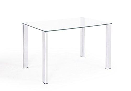 Adec - Mesa comedor salón o cocina, mesa de Cristal Olimpia, patas...
