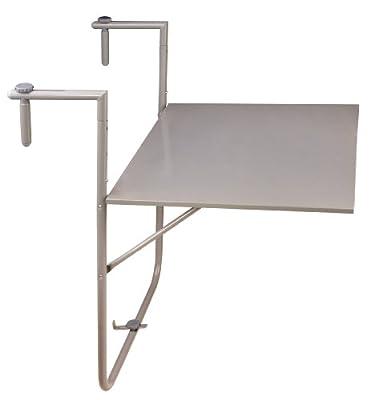 Esschert Design Balkontisch, Klapptisch in grau, zur Befestigung am Balkongeländer, ca. 60 cm x 76 cm x 83 cm