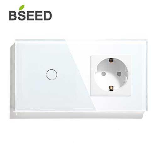 BSEED Touch Lichtschalter mit Steckdose mit LED Anzeige 1 Fach 1 Weg Berühren Sie Das Sensorfeld Touchscreen Wandsteckdosen LED Lamps Weiß -