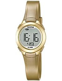 Calypso-Reloj digital unisex con pantalla LCD y correa de plástico de color dorado K5677/3
