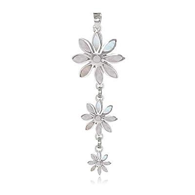 cadeau personnalisé femme-Pendentif -Nacre blanche-3 fleurs- Argent massif-Femme