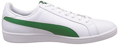 Puma Smash Leather, Baskets Basses Mixte Adulte Blanc (Puma White-amazon Green 22)