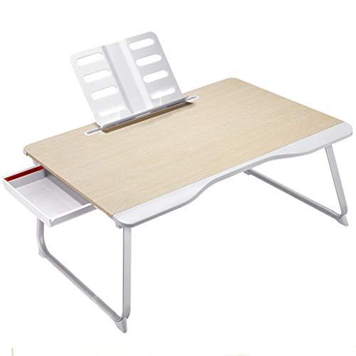 Weq Tisch-Bett-Kleiner Tisch-Laptop-Tabellen-Kind-Studentenschlafsaal-Bett-Schreibtisch-Klapptisch (Color : BEIGE, Size : 65 * 49 * 30CM)