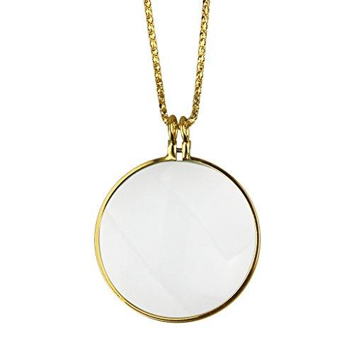5X mit 91,4cm Gold Kette Monocle Spektakel Lupe Anhänger mit 4,4cm Glas-Objektiv für Lesung Zoomen Jewelry Prüfung Geschenk gold ()