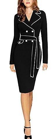 SunIfSnow - Robe spécial grossesse - Moulante - Uni - Col Chemise À Patte Boutonnée - Manches Longues - Femme - noir - XXXXL
