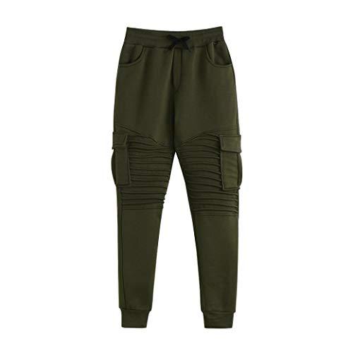 KPILP Men Mode New Herbst Kordelzug Individualität Jogginghose Locker lässig Elastische Jogging Sport Solid Baggy Pockets Hosen (Armeegrün, XL)