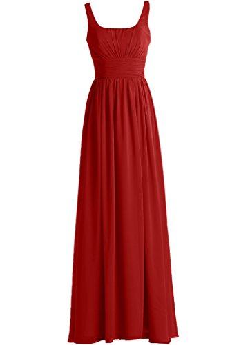 Missdressy Damen Elegant Chiffon U-Ausschnitt Aermellos A-Linie Falte Partykleider Promkleider Lang Rot
