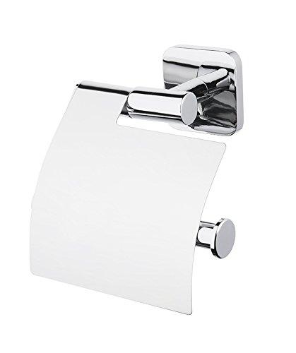 Bisk Forte Reihe Easy Fit Schrauben oder Klebstoff Toilettenpapierhalter mit Abdeckung, Zink Aluminium und Edelstahl, Chrom, 13,6x 6x 14,5cm