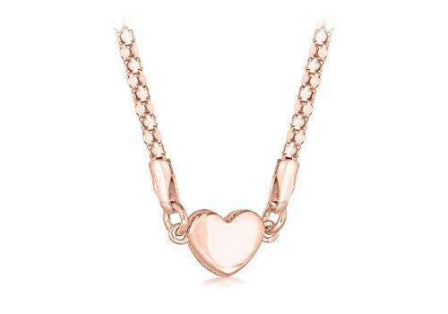 Tuscany Silver Damen Sterling Silber Rosé Gold beschichtet Magnetisch Verschluss Herz Popcorn Halskette 43 cm / 17 zoll - Popcorn Beschichtete