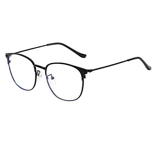 Beautynie Mode Sonnenbrillen für Männer und Frauen Lichtblock Brille Rund Optische Brillen Brillengestell ohne Rezept Polarisierte Spiegel Metall Halbrandlose Brillen Integrierte Vintage