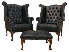 Designer Sofas4u Chesterfield Offrent Une Paire Queen Anne boutonné Dos Haut Wing Chaise Repose-Pieds Cuir Noir