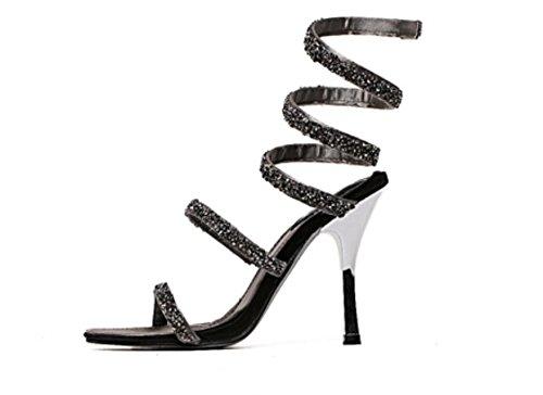 Sandales métalliques paillettes sexy femme s courbes féminines sexy haut talon stiletto sandales gray