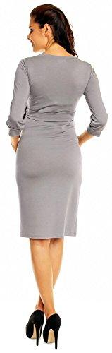 Zeta Ville - Maternité robe de grossesse encolure en V ceinture - femme - 251c Gris Clair