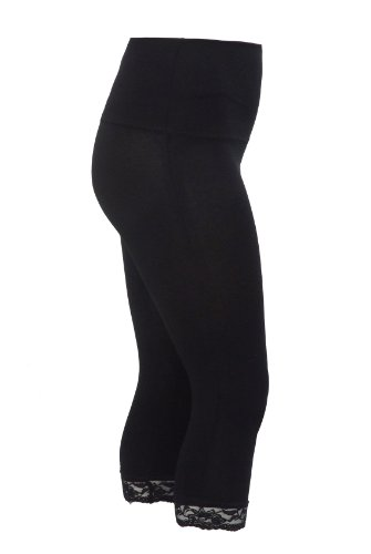 yoursclothing-plus-size-womens-tummy-control-cropped-leggings-with-lace-trim-size-18-20-black