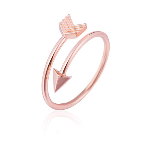 GD GOOD.designs EST. 2015 Designer Damen Ring Arrow in eleganter Pfeilform, voll Verstellbarer Damenring in Gold, Silber oder Roségold (Roségold)