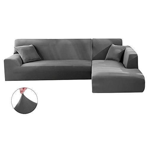 Surfmall Housse de canapé, Couverture de canapé d'angle Extensible élastique Polyester Couleur Unie (Gris, 3+4 Places)
