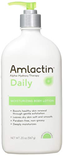Amlactin 12% Lactic Acid Alpha-Hydroxy Therapy Moisturizing Body Lotion, Fragrance Free, Non-Greasy (Large 20-Ounce Bottle)