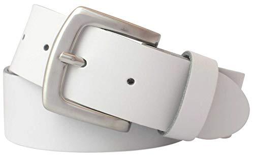 GREEN YARD Ledergürtel weiß für Damen & Herren - 100% echtes Leder - Damengürtel weiß & Herrengürtel weiß in 4 cm Breite - Jeansgürtel weiß 70 bis 130 cm Länge - 100% Echtes Leder