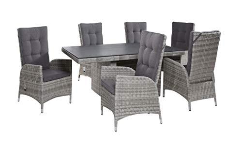 Wholesaler GmbH Gartenmöbel Tischgruppe Dining Set 6+1 Parma White Grey Essgruppe Sitzgru