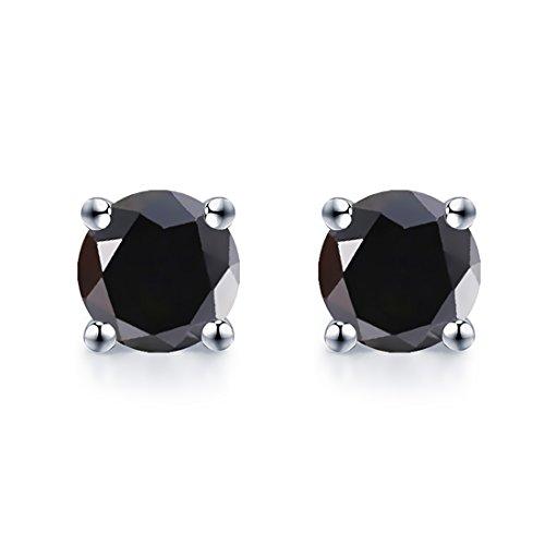Jiangxin amante unisex orecchini da donna/maschi argento 925 gioielli con agata nera buon anniversario di matrimonio regalo perfetto per la festa qualsiasi situazione
