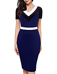 3bad81138a66 HOMEYEE Elegante manica corta donna manica corta V Neck Knee Lunghezza  colore Patchwork Bodycon abito matita