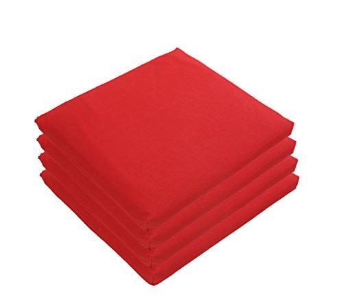 Dehner Sitzkissen Lara, 4 Stück, je ca. 45 x 40 x 8 cm, rot