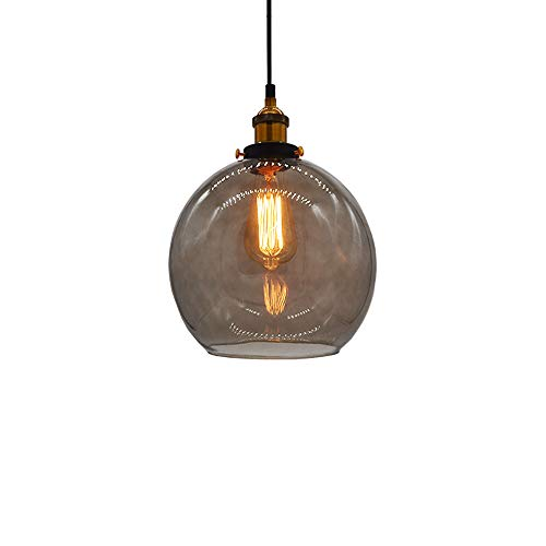 Huahan Haituo Glas Anhänger Licht Vintage Industrie Metall Finish klar Glas Kugel Runde Schatten Loft Anhänger Lampe Retro Deckenleuchte Vintage Lampe(Rauch grau, 25CM)