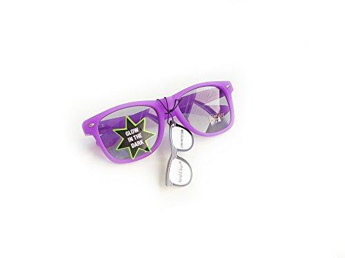 Wayfarer Nerd-Brille leuchtend Lila ohne Sehstärke Sonnen-Brille 15cm Herren Damen Unisex...