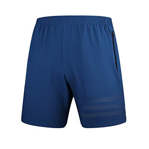 MONDHAUS Schnelltrocknend Herren Badeshorts Sommer Strandshorts Beachshorts mit Reißverschlusstasche Einfarbige Strandhose für den Sommer,Blau,L -