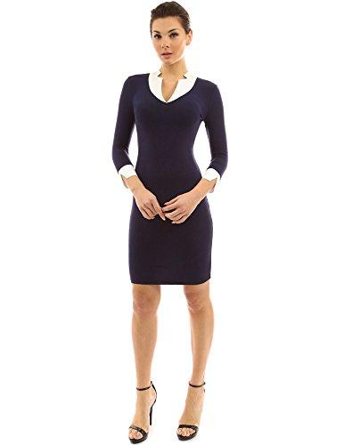 PattyBoutik Donne 2 in 1 abito stile inserto elasticizzato blu navy