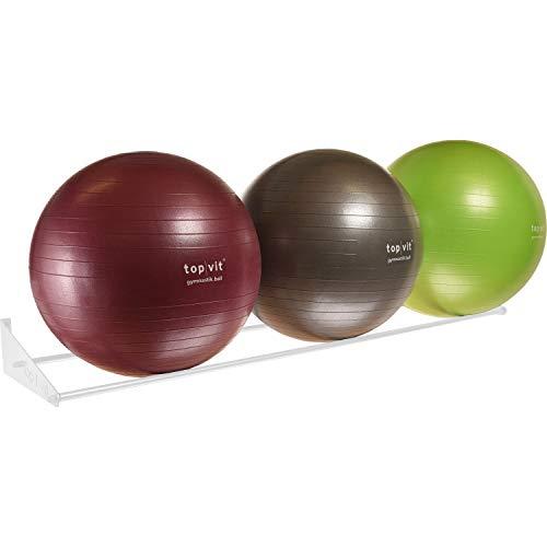 top | vit® Ball.wandhalter - Wandhalterung für bis zu 3 Gymnastikbälle, weiß
