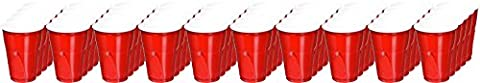 Easy Grip Disposable Plastic Party Cups, 9 oz, Red, 50/Pack