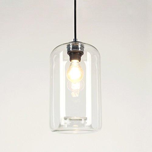 s.LUCE Pendelleuchte Cruet Up Ø 17 cm Klar Pendellampe Esszimmerlampe Glas Pendel Hängelampe Textilkabel Vintage Retro E27 Birne -