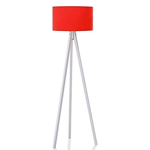 Stehlampe Tripod Stehleuchte Deckenfluter Standleuchte Leselampe Bodenlampe (Rote Schirm / Weiß Fuß)