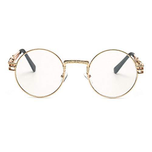 YMTP Rahmen Brillen Für Frauen Vintage Brille Frames Für Männer Männlich Nerd Metall, Gold