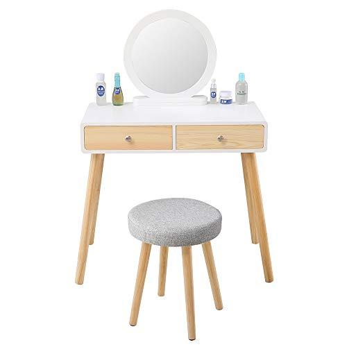BOJU - Mesa de tocador de Madera con Espejo y cajones y Taburete para Dormitorio de niña o Mujer, Mesa de Escritorio para Esquina