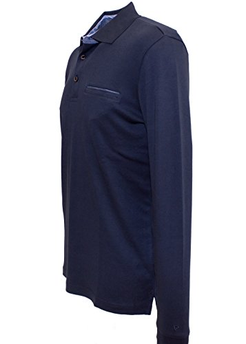 "Pierre Cardin ""Premium Cotton"" Langarm Polo-Shirt in 5 Farben Navy"