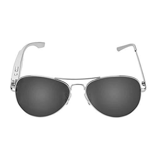 KCaNaMgAl Smart Bluetooth Sonnenbrille, Bluetooth 4.1 Sport Polarisierte Sonnenbrille Stereo Kopfhörer Sprachsteuerung Outdoor Sport und Freizeit,Silver