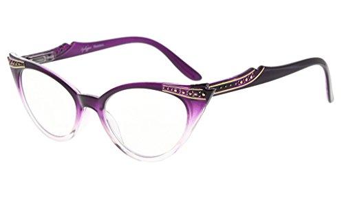 Eyekepper Cateyes Damen brillen (Lila-Transparent, 0.00)