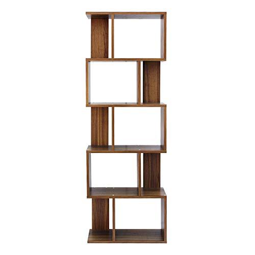 rebecca mobili libreria scaffale 5 ripiani marrone rovere contemporanea legno studio salotto - 172,5 x 60 x 24,5 cm (h x l x p) - art. re6031