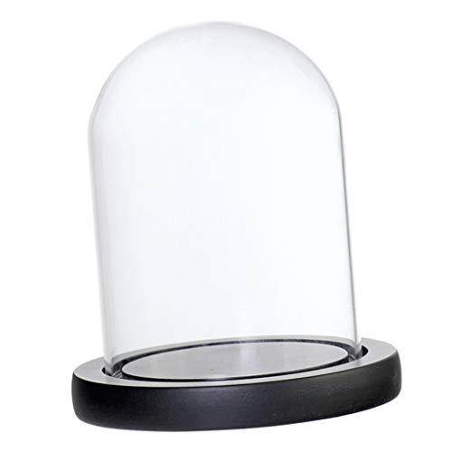 (FLAMEER DIY Glasglocke Glashaube Glaskuppel Glasabdeckung mit Holzteller - Schwarz B)
