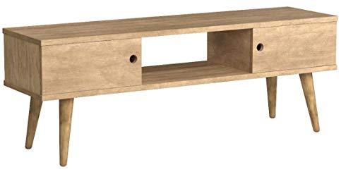 Hogar24 Meuble TV, salon Design vintage 2 portes et étagère en bois massif naturel Fabrication artisanale 110 x 40 x 30 cm.
