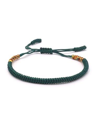 BENAVA Tibetisches Armband Freundschaftsarmband - Buddhistischer Schmuck Handgemacht Minimalistisch Grün Bunt