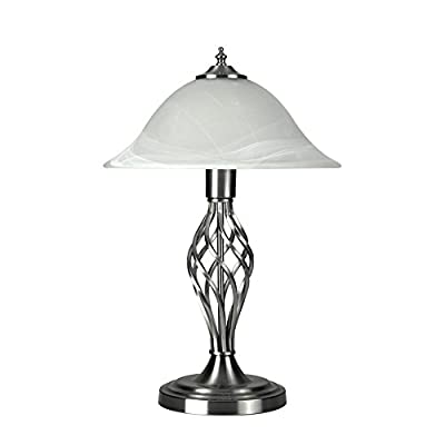 Traditional Style Barley Twist Table Lamp with a Frosted Alabaster Shade - With 1 x 6w LED ES E27 Warm White Bulb by MiniSun