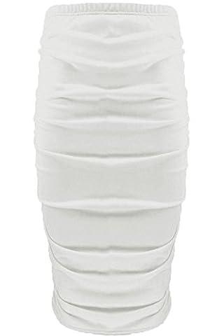 Womens Ladies Plain Stretchy Side Ruched Pencil Tube Bodycon Midi Length Skirt S/M (UK 8/10) Cream