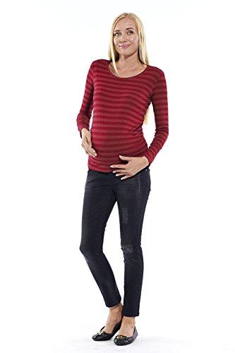 Motherway - T-Shirt à manches longues - À Rayures - Col Rond - Femme Weinrot Gestreift