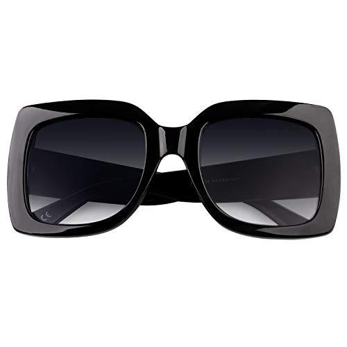 GQUEEN Oversized Damen Sonnenbrille mit rechtecktigem Rahmen mehrfach get?nt Glitzer Design inspiriert Stylische Gl?ser S904